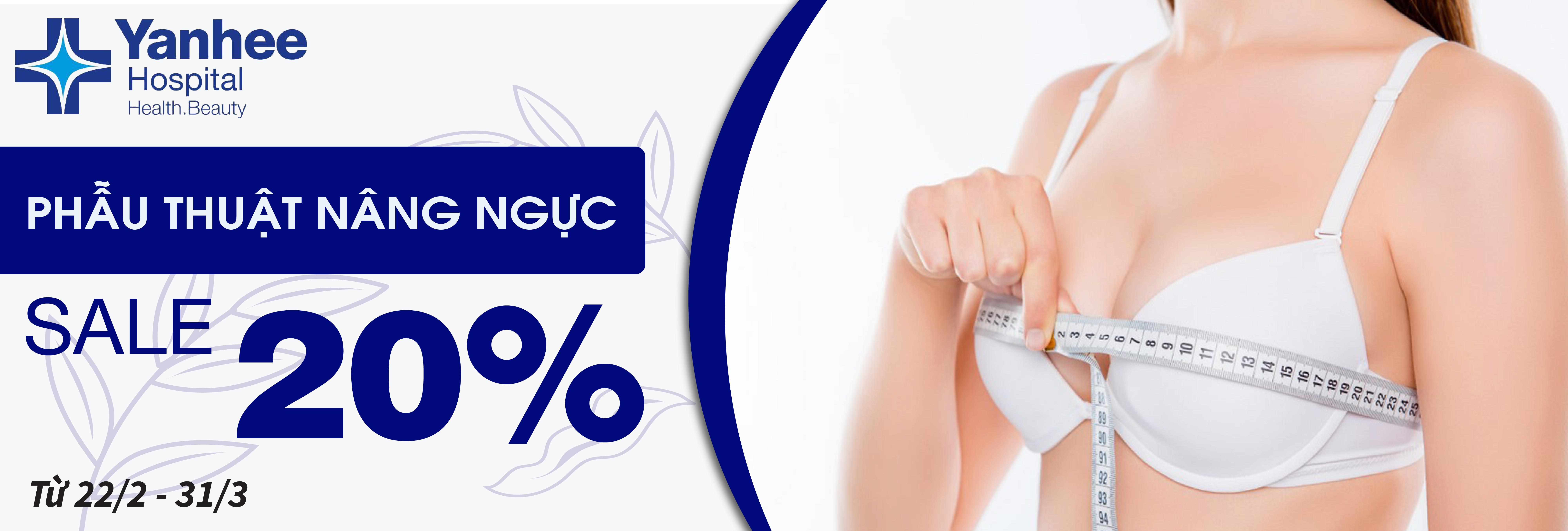 Phẫu thuật ngực Yanhee - Giảm 20% cho nâng ngực silicone nhỏ hơn 400C